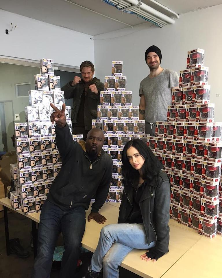 """<p>It was a Netflix Marvel family pic as Krysten Ritter, Mike Colder, Charlie Cox, and Finn Jones hung out with their action figures. """"Love these boys and our Funko Pops SO MUCH!,"""" she wrote. """"#defend #jessicajones #daredevil #lukecage #ironfist @finnjones."""" (Photo: <a rel=""""nofollow"""" href=""""https://www.instagram.com/p/BSxWkhwBVug/?taken-by=therealkrystenritter"""">Krysten Ritter via Instagram</a>)<br /><br /></p>"""