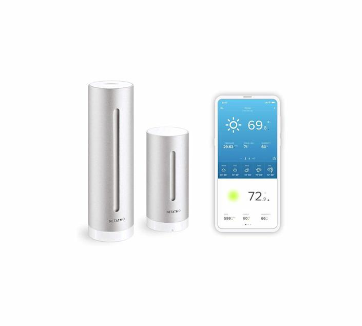 """<p><strong>Netatmo</strong></p><p>amazon.com</p><p><strong>$142.59</strong></p><p><a href=""""https://www.amazon.com/dp/B0095HVAKS?tag=syn-yahoo-20&ascsubtag=%5Bartid%7C10060.g.36984727%5Bsrc%7Cyahoo-us"""" rel=""""nofollow noopener"""" target=""""_blank"""" data-ylk=""""slk:Shop Now"""" class=""""link rapid-noclick-resp"""">Shop Now</a></p><p>You won't find a sleeker weather station than the Netatmo, but the aluminum-bodied smart device has more than looks going for it. Its modern design, high level of accuracy, and ease of use earned it top accolades from Good Housekeeping and Wirecutter. The base model includes two sensors: a battery-operated outdoor tower that tracks temperature, humidity, and barometric pressure; and an AC-powered indoor one that goes beyond competitors to keep an eye on CO2 and sound levels. All these measurements were very accurate, according to reviewers. For a more complete picture outside your door, you'll need to purchase the compatible rain gauge and anemometer, which will double your investment. However, the separate housing for each sensor lets you site them for optimal accuracy, unlike all-in-one systems.</p><p>Reading measurements happens in the Netatmo Weather app or its website, not a typical countertop console like some people might prefer. Still, the intuitive app has easy-to-read graphics and charts of real-time and historical data, plus a seven-day forecast. You can also pair the Netatmo with Amazon and Apple smart speakers and request weather reports from Alexa or Siri. That makes it a no-brainer if you're already riding the smart home wave (or want to be).</p>"""