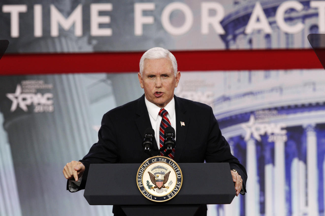 """Vice President Mike Pence speaks at the Conservative Political Action Conference (CPAC), at National Harbor, Md., Thursday, Feb. 22, 2018. Pence said that in a meeting with governors at the White House Monday, they and Trump will """"make the safety of our nation's schools and our students our top national priority."""" (AP Photo/Jacquelyn Martin)"""