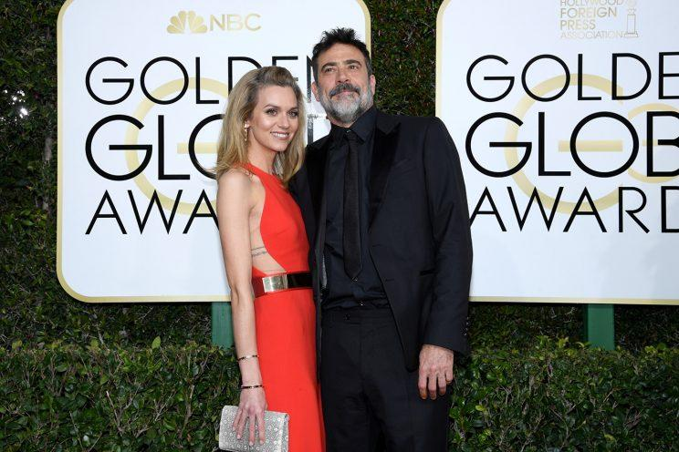 BEVERLY HILLS, CA - JANUARY 08: 74th ANNUAL GOLDEN GLOBE AWARDS -- Pictured: (l-r) Actors Hilarie Burton and Jeffrey Dean Morgan arrive to the 74th Annual Golden Globe Awards held at the Beverly Hilton Hotel on January 8, 2017. (Photo by Kevork Djansezian/NBC/NBCU Photo Bank via Getty Images)