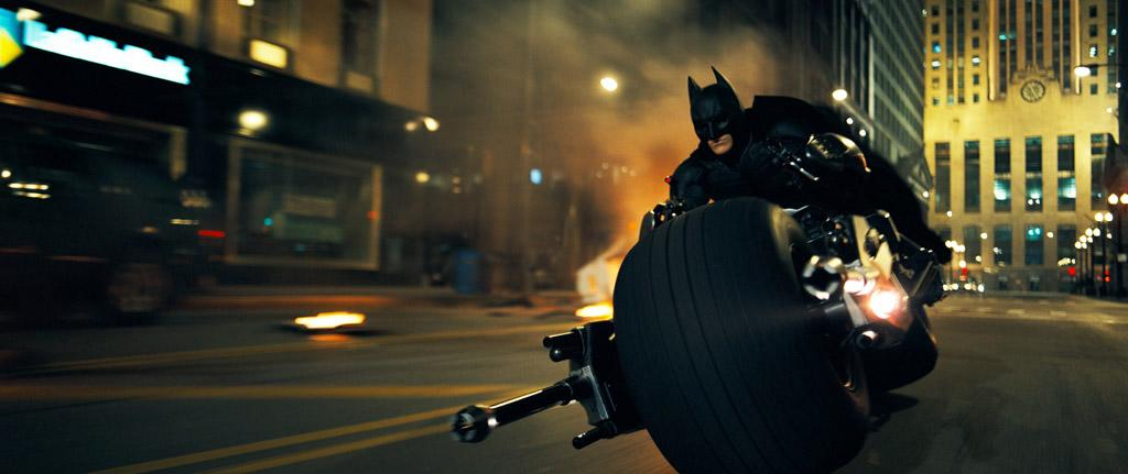 """Batman on his Bat-Pod in Warner Bros. Pictures' <a href=""""http://movies.yahoo.com/movie/1809271891/info"""">The Dark Knight</a> - 2008"""