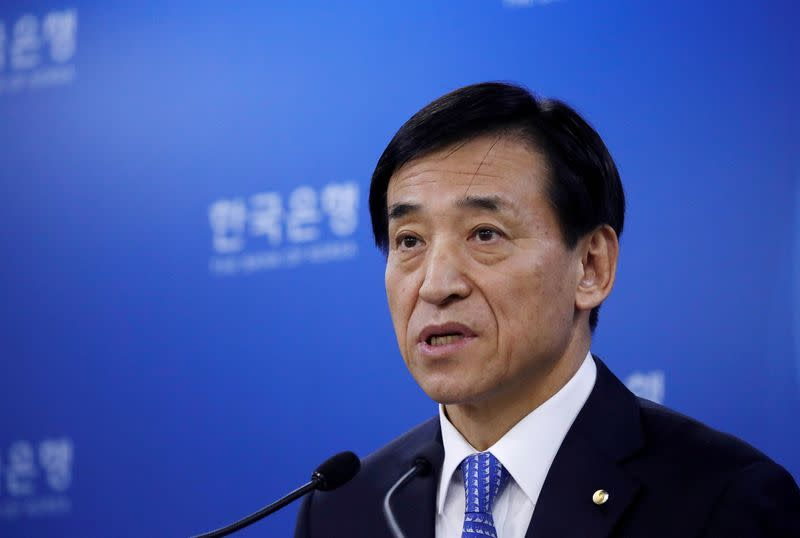 FILE PHOTO: Bank of Korea Governor Lee Ju-yeol speaks during a news conference in Seoul
