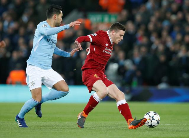 <p>Soccer Football – Champions League Quarter Final First Leg – Liverpool vs Manchester City – Anfield, Liverpool, Britain – April 4, 2018 Liverpool's Andrew Robertson in action with Manchester City's Aymeric Laporte REUTERS/Andrew Yates </p>
