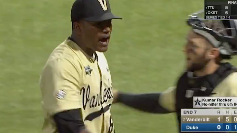 Vanderbilt's Kumar Rocker Pitches First No-Hitter in NCAA Super Regional History