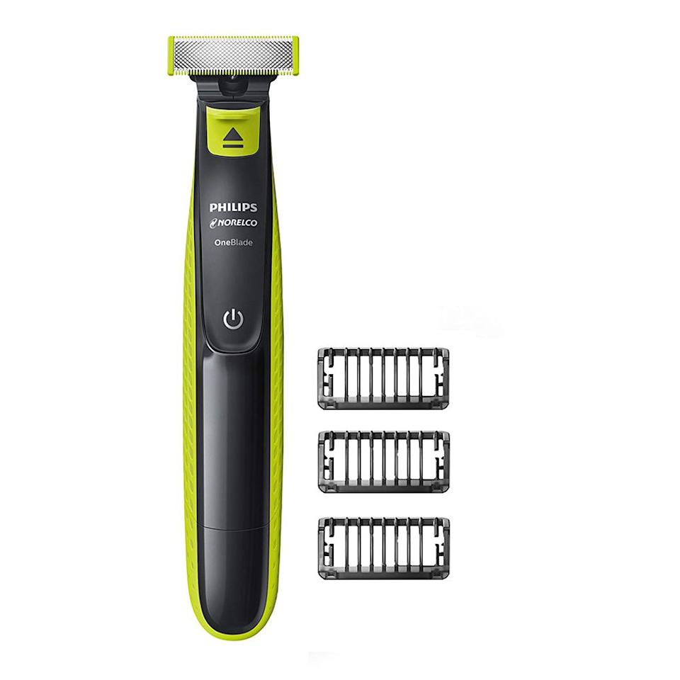 """<p><strong>Philips Norelco</strong></p><p>amazon.com</p><p><strong>$34.89</strong></p><p><a href=""""http://www.amazon.com/dp/B01D328BG6/?tag=syn-yahoo-20&ascsubtag=%5Bartid%7C2139.g.21347829%5Bsrc%7Cyahoo-us"""" target=""""_blank"""">BUY IT HERE</a></p><p>If you're looking for the closest trim (like a slight five-o'clock shadow), without completely shaving your beard, this easy-to-use electric shaver is a top choice. Great for trimming hair on your head, face, neck, and basically any other area with no need to worry about nicks and cuts. You can easily achieve the perfect length of scruff with three combs and a contour head that moves to the shape of your face. </p>"""