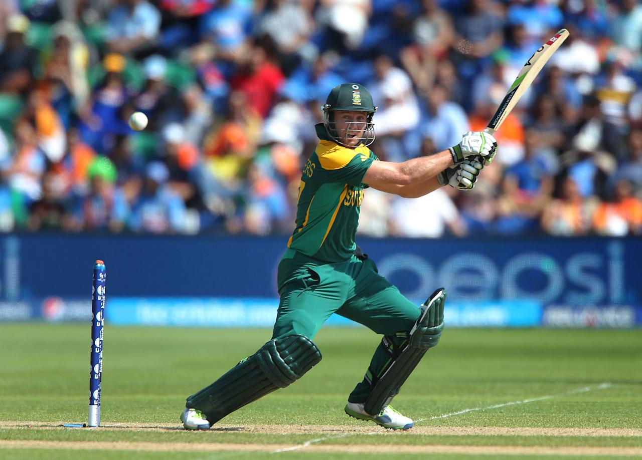 South Africa captain AB De Villiers square cuts against India on opening day of the ICC Champions Trophy. The SWALEC Stadium, Cardiff.