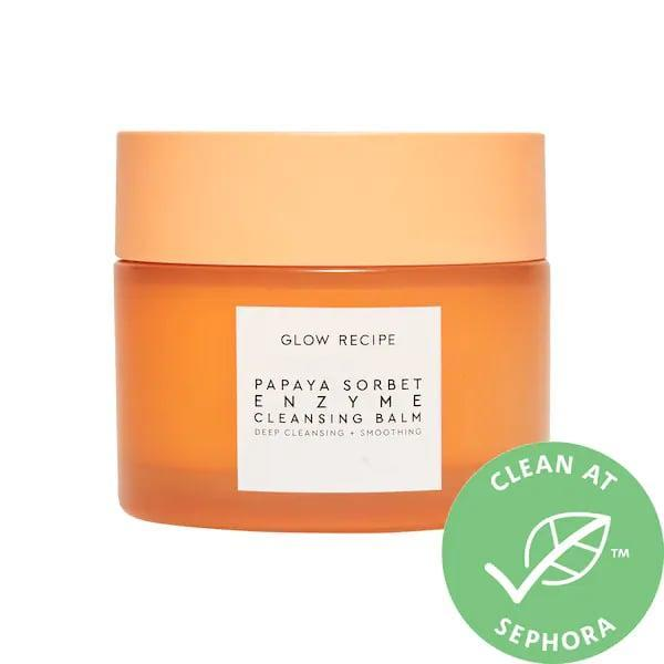 "<p>Not only does this top-rated <span>Glow Recipe Papaya Sorbet Smoothing Enzyme Cleansing Balm</span> ($32) feel and smell like a sorbet (with natural papaya and blueberry inside), its texture gently resurfaces skin as it dissolves makeup, sunscreen, and any impurities without <a href=""https://www.popsugar.com/beauty/photo-gallery/42192116/image/42192126/Polyethylene-Glycol-vs-Cetearyl-Olivate"" class=""link rapid-noclick-resp"" rel=""nofollow noopener"" target=""_blank"" data-ylk=""slk:PEGs"">PEGs</a> either.</p>"