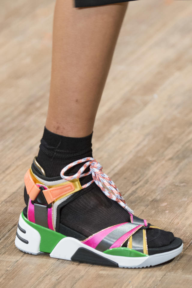 <p><i>Colorful, sporty sandals from the SS18 Marc Jacobs collection. (Photo: ImaxTree) </i></p>