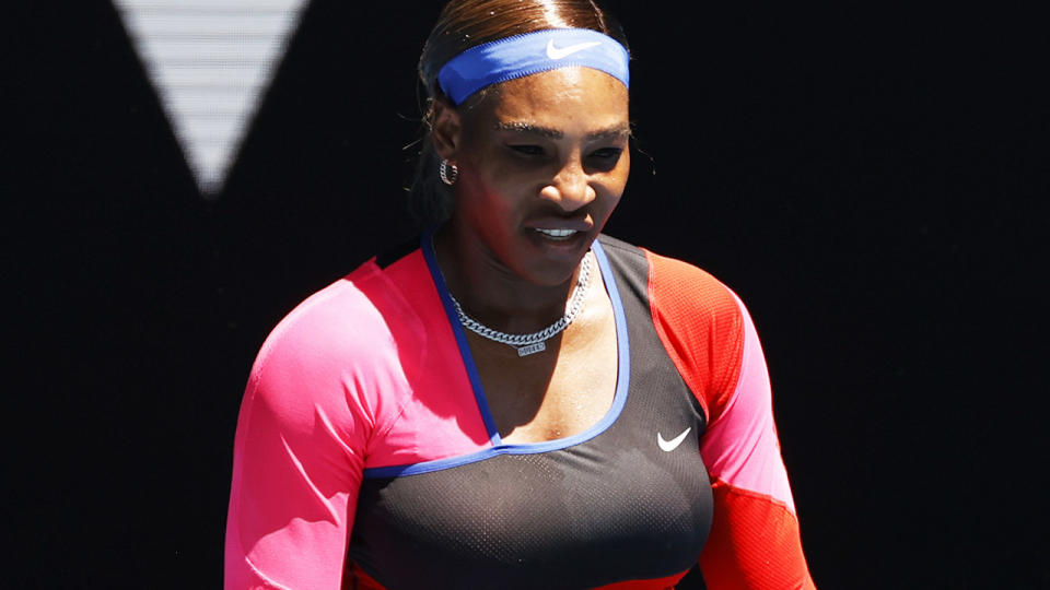 Serena Williams, pictured here in action against Nina Stojanovic at the Australian Open.