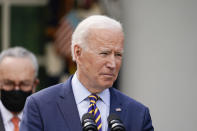 President Joe Biden speaks about the American Rescue Plan, a coronavirus relief package, in the Rose Garden of the White House, Friday, March 12, 2021, in Washington. (AP Photo/Alex Brandon)