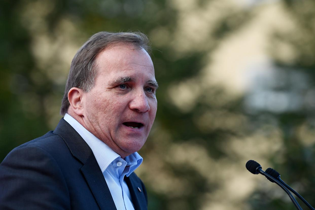 Swedish Prime Minister Stefan Löfven addresses an election campaign rally attended by Spain's prime minister in Enkoping, Sweden, on Sept. 5, 2018. (Photo: JONATHAN NACKSTRAND via Getty Images)
