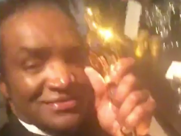 Terry Bryant has been arrested after sharing this video of himself with the Oscar. Source: facebook/TerryBryant