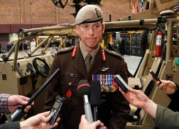 Maj.-Gen. Peter Dawe, head of the Canadian Special Operations Forces Command, wrote a positive character reference to a judge for a soldier found guilty of sexually assaulting the wife of another member in his chain of command. He's been placed on leave. (Patrick Doyle/The Canadian Press - image credit)