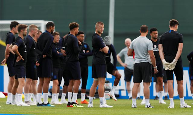 Soccer Football - World Cup - England Training - England Training Camp, Saint Petersburg, Russia - June 17, 2018 England's Eric Dier with team mates during training REUTERS/Lee Smith
