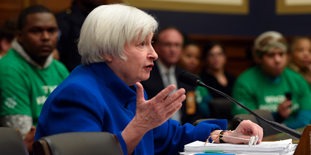 "Federal Reserve Board Chair Janet Yellen testifies on Capitol Hill, calling bitcoin ""highly speculative."""