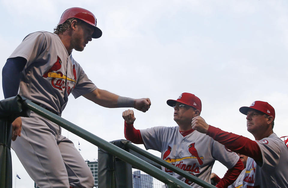 Harrison Bader (left) is back in play for the Cardinals (AP Photo/Jim Young)