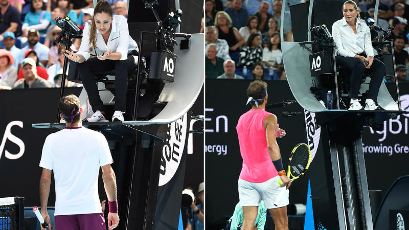 Roger Federer and Rafael Nadal, pictured here arguing with the female umpires.