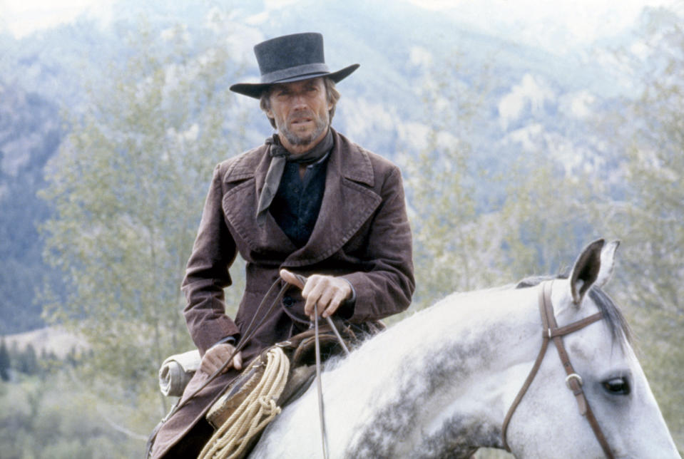 American actor, director and producer Clint Eastwood on the set of his movie Pale Rider. (Photo by Warner Bros. Pictures/Sunset Boulevard/Corbis via Getty Images)