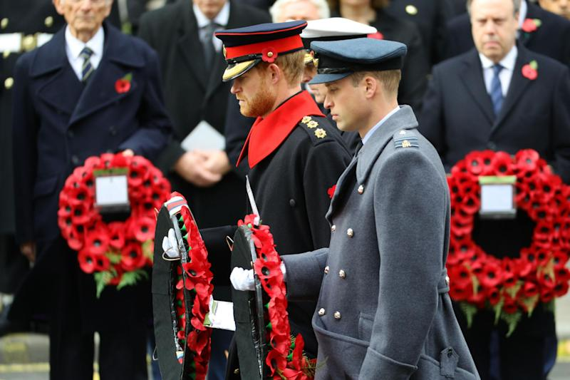 The Duke of Cambridge (right) and Prince Harry laying wreaths (PA)