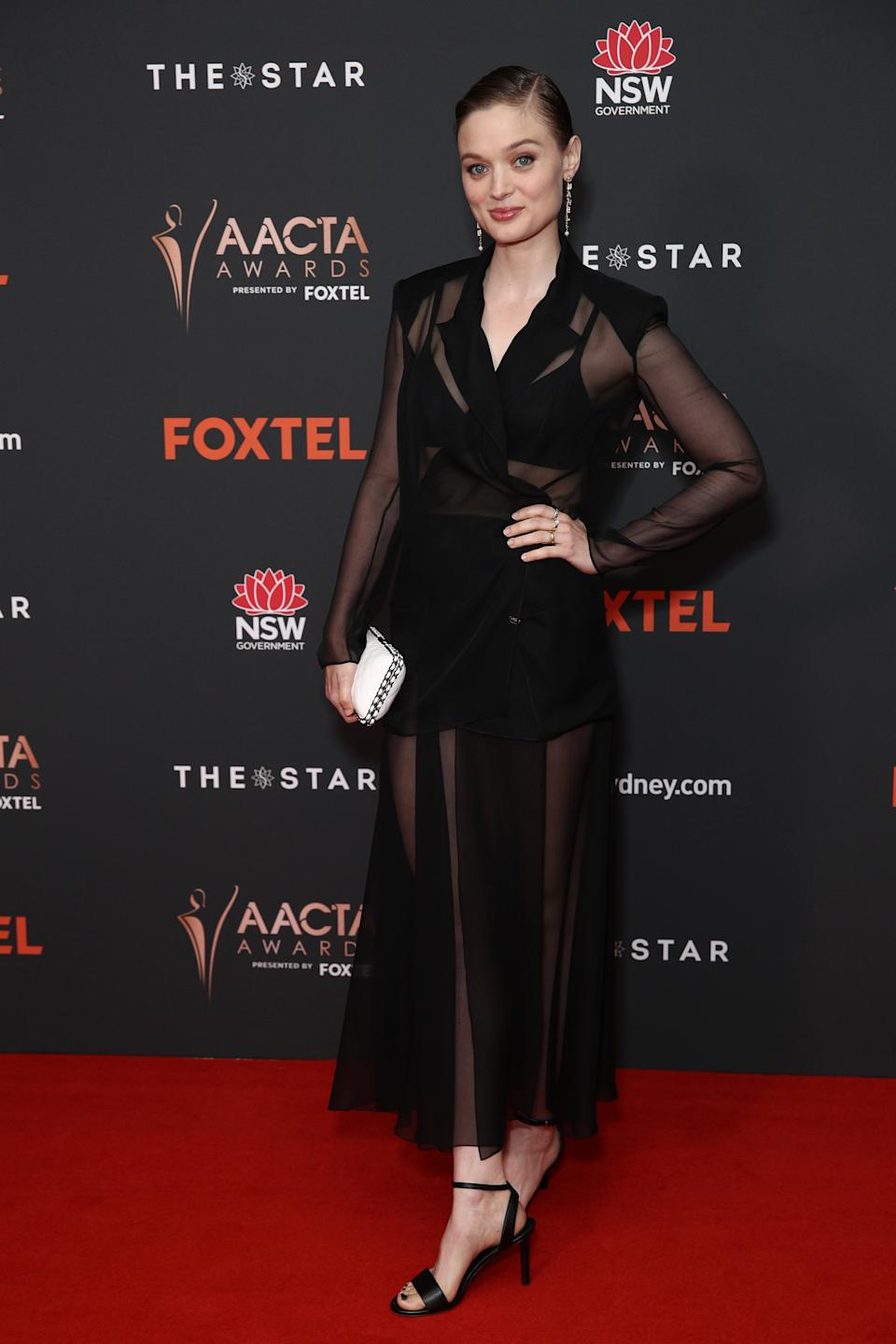 Bella Heathcote arrives ahead of the 2020 AACTA Awards presented by Foxtel at The Star on November 30, 2020 in Sydney, Australia.