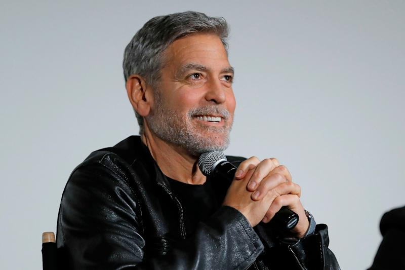 "George Clooney speaks onstage during Hulu's ""Catch-22"" special screening on May 01, 2019 in New York City."