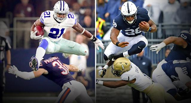 Is Penn State's Saquon Barkley (R) even better than Ezekiel Elliott? (Photos: AP/Getty)