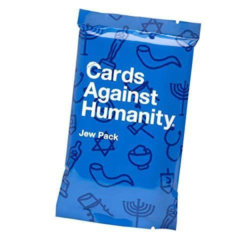 """<p><strong>Cards Against Humanity</strong></p><p>amazon.com</p><p><strong>$17.99</strong></p><p><a href=""""https://www.amazon.com/dp/B07BB1KTX8?tag=syn-yahoo-20&ascsubtag=%5Bartid%7C10049.g.33852512%5Bsrc%7Cyahoo-us"""" rel=""""nofollow noopener"""" target=""""_blank"""" data-ylk=""""slk:Shop Now"""" class=""""link rapid-noclick-resp"""">Shop Now</a></p><p>The founders of Cards Against Humanity, who are all Jewish, btw, decided to give their best-selling game a funny update that's perfect to play during Shabbat dinner or Hanukkah.</p>"""