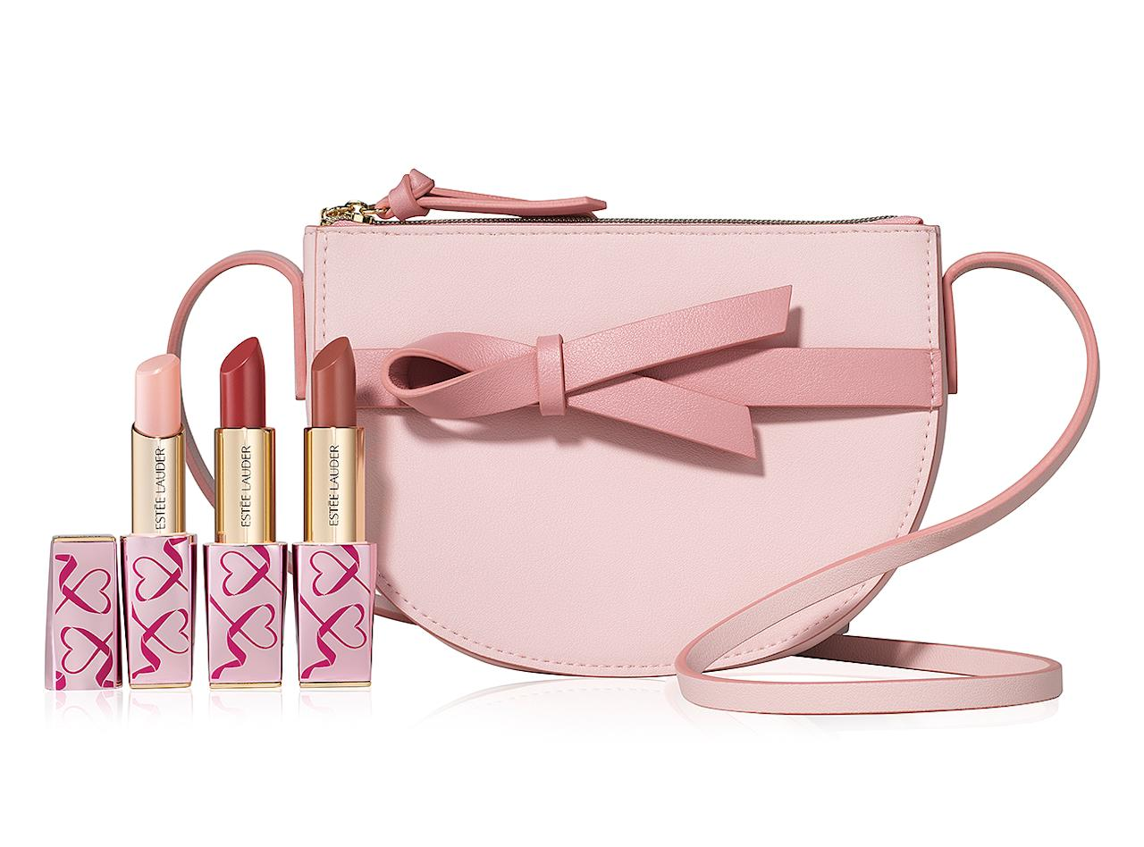 """<p>100% of the purchase price (up to $534,000) of this lipstick trio goes to the Breast Cancer Research Foundation.</p> <p><strong>Buy It!</strong> $96; <a href=""""https://www.esteelauder.com/product/653/77578/product-catalog/sets-gifts/makeup-sets-gifts/pink-perfection-lip-kit/limited-edition-collection"""">esteelauder.com</a></p>"""