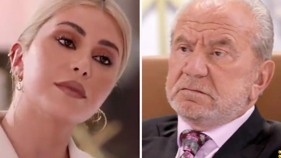 Celebrity apprentice Martha Kalifatidis and boss Lord Alan Sugar.