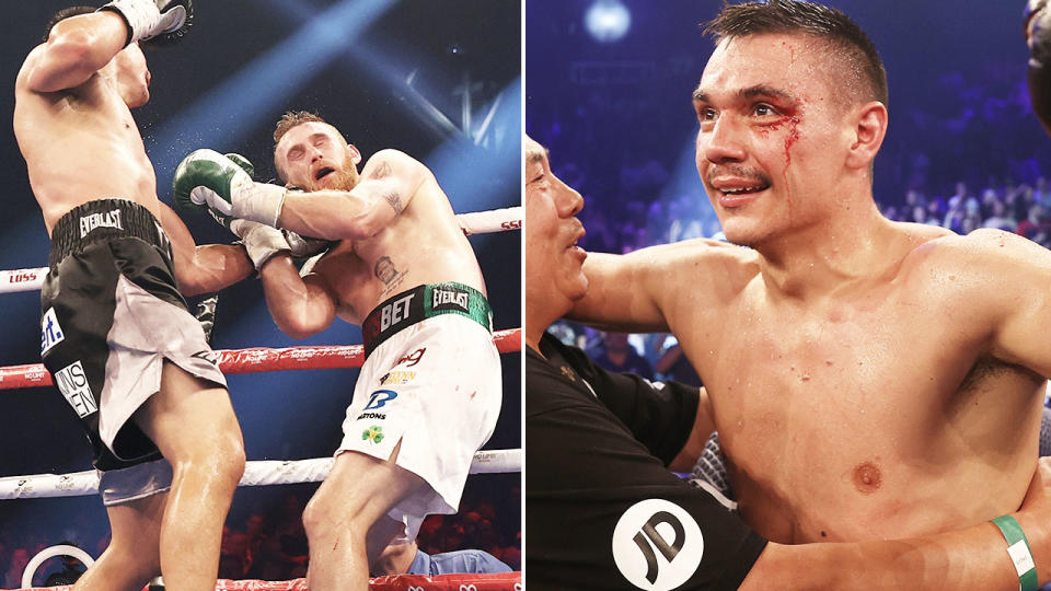 Tim Tszyu, pictured here after finishing Dennis Hogan in the fifth round.
