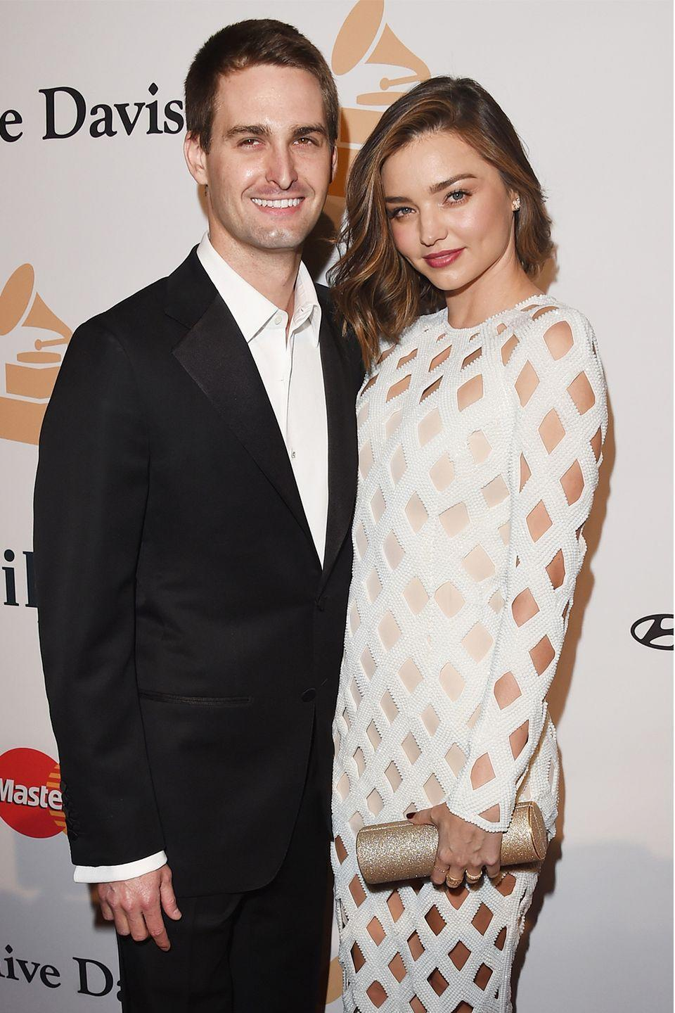 """<p>The Snapchat founder and model revealed they would wait to have sex until after they were married—which was in May 2017. """"Not until after we get married,"""" she told<em> <a href=""""http://www.thetimes.co.uk/article/miranda-kerr-sex-and-the-snapchat-ceo-the-life-of-a-frustrated-supermodel-9z70hhbtc"""" rel=""""nofollow noopener"""" target=""""_blank"""" data-ylk=""""slk:The London Times"""" class=""""link rapid-noclick-resp"""">The London Times</a></em>. """"[Evan] is very traditional. We can't…I mean we're just…waiting.""""</p><p>Shortly after they were married, Miranda announced she was pregnant. Miranda has a son, Flynn, with Orlando Bloom, but it's unclear if Evan remained a virgin until his marriage to Miranda. </p>"""