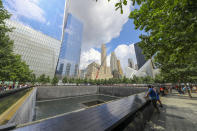<p>A view of Lower Manhattan from one of two reflecting pools at the National September 11 Memorial & Museum, where the original One World Trade Center once stood, on Aug. 18, 2018. (Photo: Gordon Donovan/Yahoo News) </p>