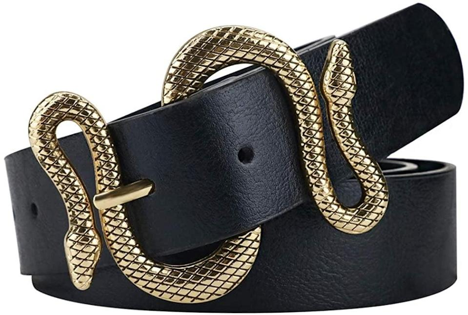 <p>This <span>Studded Black Belt with Snake Belt Buckle</span> ($12) will elevate a simple outfit.</p>