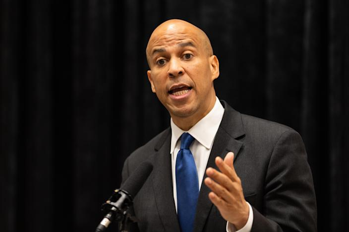 Sen. Cory Booker, D-N.J., speaking during the Open Markets Institute's conference in Washington, D.C. (Photo: Michael Brochstein/SOPA Images/LightRocket via Getty Images)