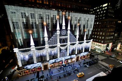 Saks Fifth Avenue Holiday 2020 Light Show (Getty for Saks Fifth Avenue)