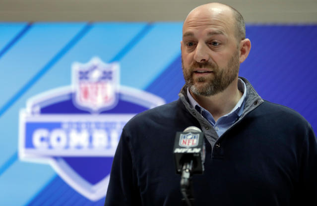 FILE - In this Feb. 28, 2018, file photo, Chicago Bears coach Matt Nagy speaks during a news conference at the NFL football scouting combine in Indianapolis. The Bears are trying to build something bigger and better after finishing last in the NFC North four straight years. General manager Ryan Pace fired John Fox after three seasons and replaced him with Nagy, hoping a coach with an offensive background will get the most out of prized quarterback Mitchell Trubisky. Theres a building buzz for a team coming off a 5-11 season. But theres also plenty of work to do, particularly for an offense learning a new system, and the job kicked into another gear with the start of a voluntary veteran minicamp. (AP Photo/Michael Conroy, File)