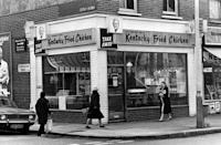 <p>This Kentucky Fried Chicken Takeaway Restaurant seen in London in 1975 didn't even have indoor dining yet -- or the iconic abbreviated 'KFC' logo.</p>