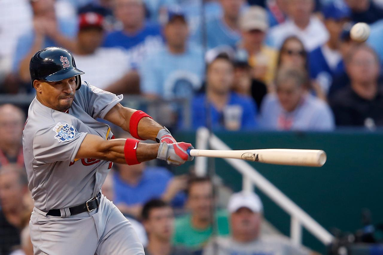 KANSAS CITY, MO - JULY 10:  National League All-Star Rafael Furcal #15 of the St. Louis Cardinals hits a triple in the fourth inning during the 83rd MLB All-Star Game at Kauffman Stadium on July 10, 2012 in Kansas City, Missouri.  (Photo by Jamie Squire/Getty Images)