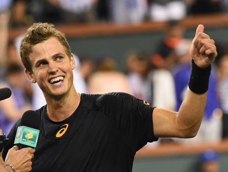 Mar 11, 2017; Indian Wells, CA,  Vasek Pospisil (CAN) celebrates as he defeated Andy Murray (not pictured) in his 2nd round match in BNP Paribas Open at the Indian Wells Tennis Garden. Pospisil won 6-4, 7-6. Mandatory Credit: Jayne Kamin-Oncea-USA TODAY Sports