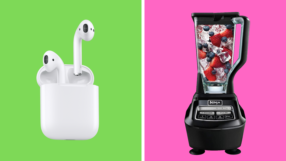 Weekend savings are here with a sleek pair of Apple AirPods and Ninja's powerful kitchen blender. (Photo: Amazon)