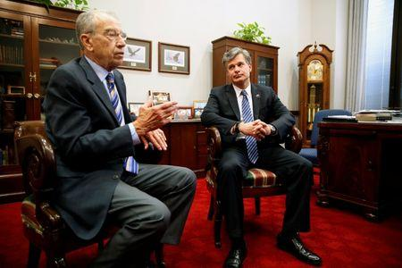 Senate Judiciary Committee Chairman Chuck Grassley (R-IA) meets with FBI Director nominee Christopher Wray in Washington