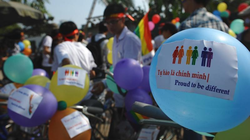 LGBT groups are still lobbying for Vietnam to legalise same-sex marriages after Hanoi briefly considered changing the law three years ago (AFP Photo/Hoang Dinh Nam)