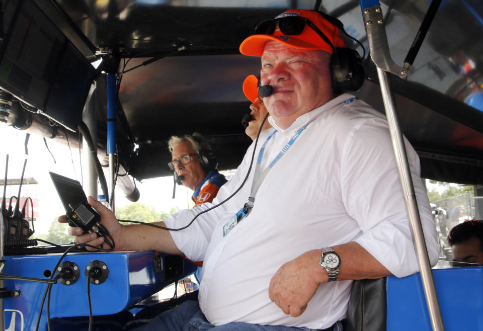 Car owner Chip Ganassi looks on from pit road during an IndyCar race at Mid-Ohio Sports Car Course in Lexington, Ohio, Sunday, July 4, 2021. (AP Photo/Tom E. Puskar)