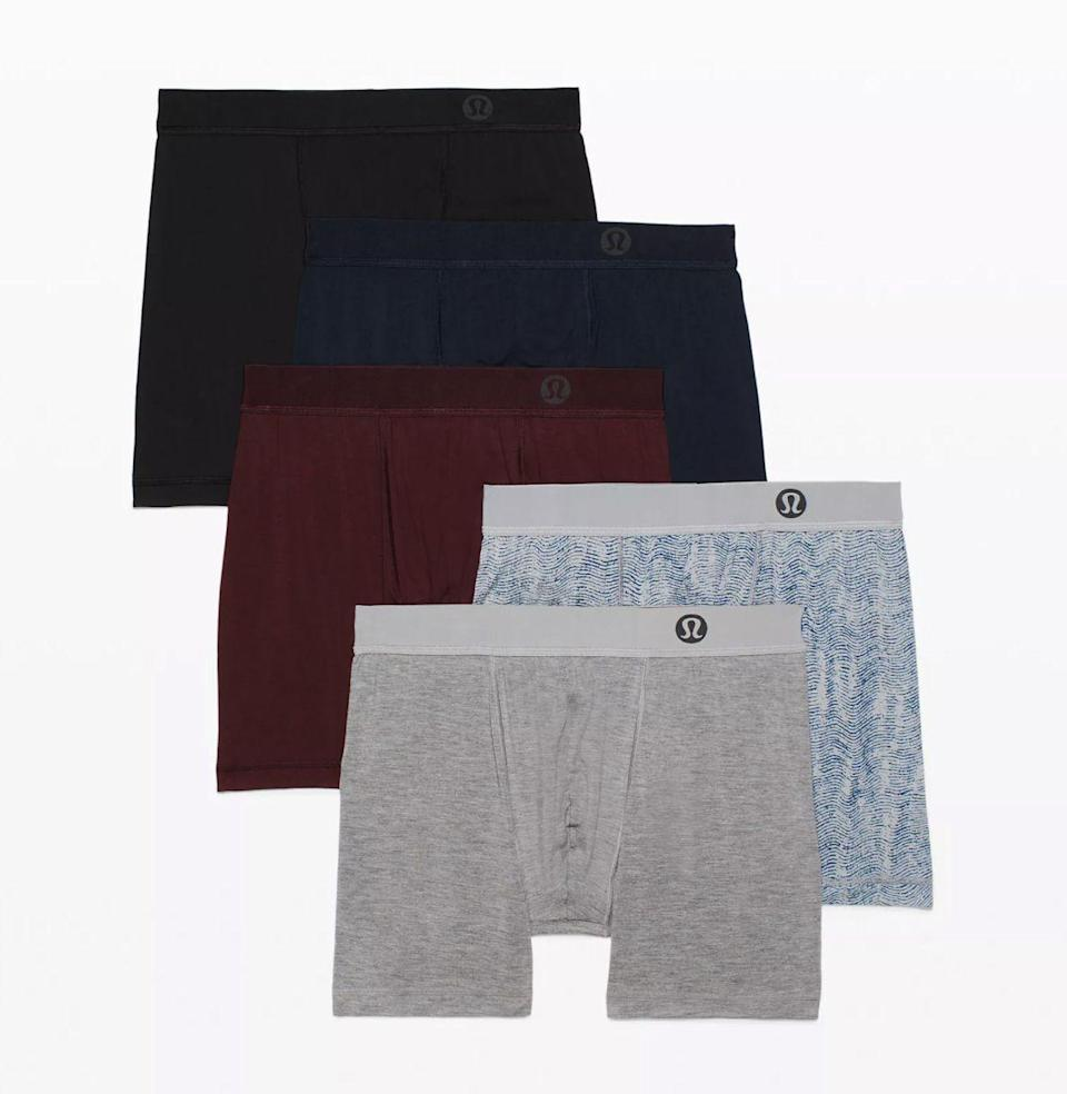 """<p><strong>Lululemon</strong></p><p>lululemon.com</p><p><strong>$28.00</strong></p><p><a href=""""https://go.redirectingat.com?id=74968X1596630&url=https%3A%2F%2Fshop.lululemon.com%2Fp%2Fmen-underwear%2FAim-Boxer%2F_%2Fprod9270823&sref=https%3A%2F%2Fwww.esquire.com%2Flifestyle%2Fg36186166%2Fanniversary-gifts-for-him-husband%2F"""" rel=""""nofollow noopener"""" target=""""_blank"""" data-ylk=""""slk:Buy"""" class=""""link rapid-noclick-resp"""">Buy</a></p><p>Practicality ain't a bad thing. Lululemon's boxers are a very good thing for men who like to stay comfortable no matter how active they are.</p>"""