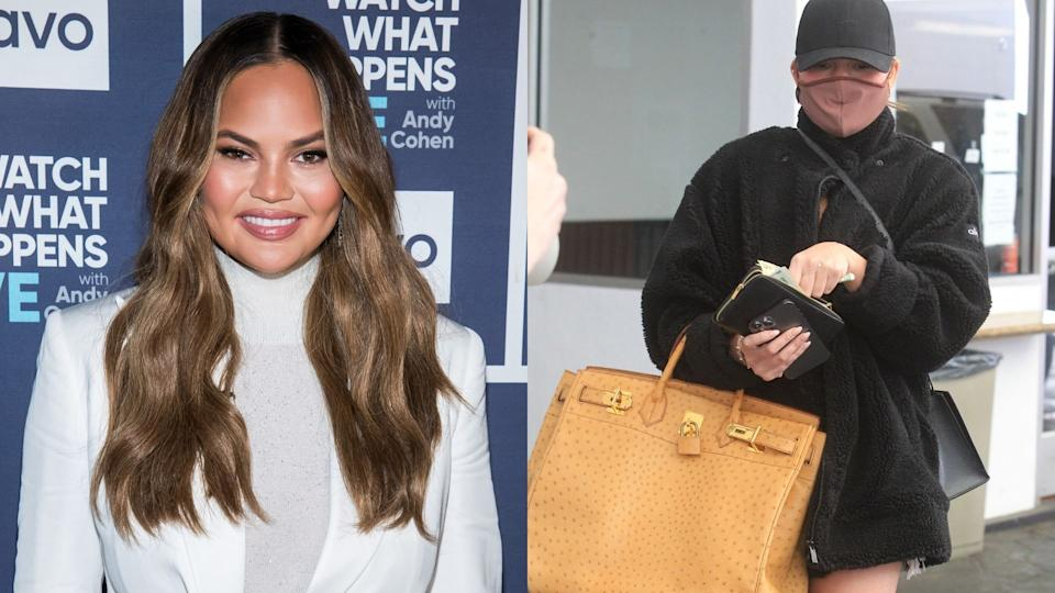 Chrissy Teigen was spotted wearing a super cozy look from Alo Yoga. (Images via Getty Images)