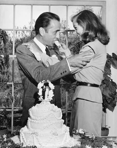 "<p>Twenty-five years her senior, Bogart and Bacall fell in love during the filming of <em>To Have or have Not</em>. They <a href=""https://ohiomemory.org/digital/collection/p267401coll36/id/9336"" rel=""nofollow noopener"" target=""_blank"" data-ylk=""slk:married in secret in Ohio at a friend's farm"" class=""link rapid-noclick-resp"">married in secret in Ohio at a friend's farm</a> in May 1945. They remained married until his death in 1957.</p>"