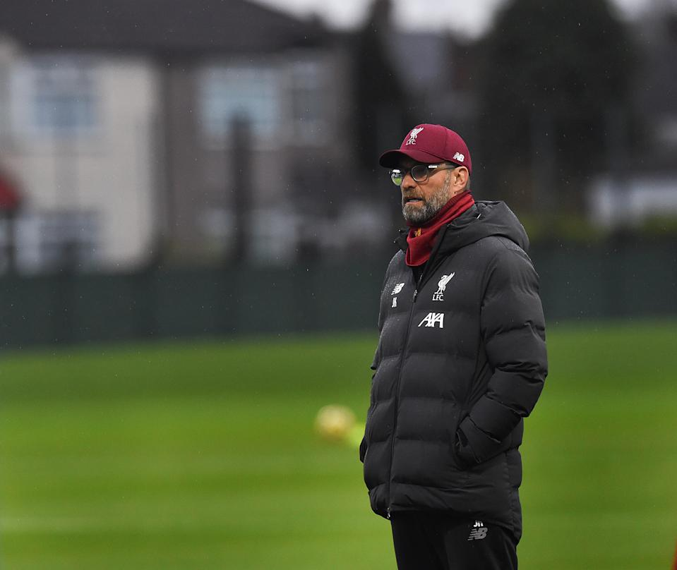 LIVERPOOL, ENGLAND - NOVEMBER 28: (THE SUN OUT, THE SUN ON SUNDAY OUT) Jurgen Klopp manager of Liverpool during a training session at Melwood Training Ground on November 28, 2019 in Liverpool, England. (Photo by John Powell/Liverpool FC via Getty Images)