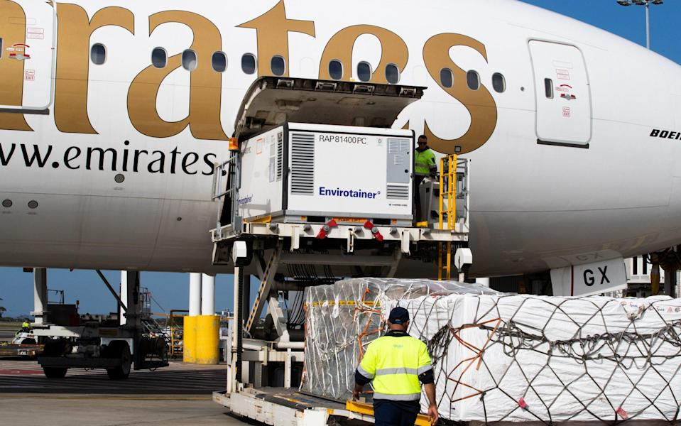 The Oxford-AstraZeneca vaccine is the second vaccine to arrive in Australia, with 300,000 doses landing at Sydney's international airport on Sunday - Edwina Pickles