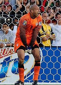 An emotional Tim Howard reacts during the USA's 4-2 Gold Cup loss to Mexico