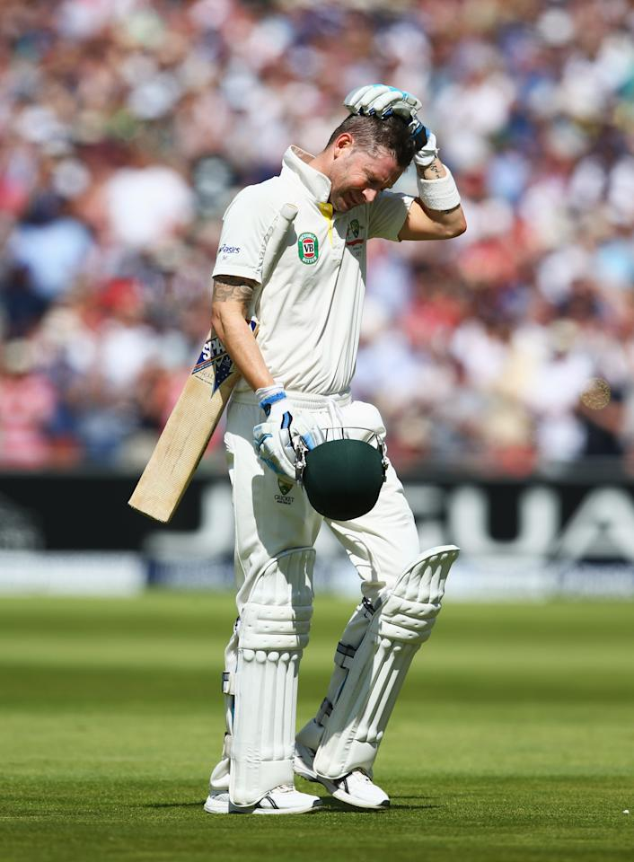 MANCHESTER, ENGLAND - AUGUST 02: Michael Clarke of Australia holds his head after his innings of 187 runs during day two of the 3rd Investec Ashes Test match between England and Australia at Emirates Old Trafford Cricket Ground on August 2, 2013 in Manchester, England. (Photo by Michael Steele/Getty Images)
